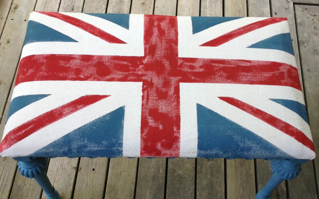 DIY Union Jack Chalk Painted Bench