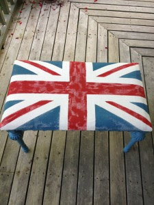 DIY Union Jack Chalk Painted Bench