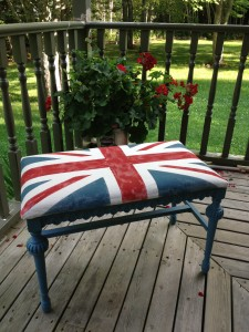 union jack chalk painted bench