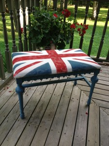 Annie Sloan Painted Union Jack Bench from frontporchmercantile.com