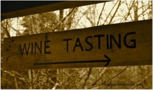 wood painted wine tasting sign