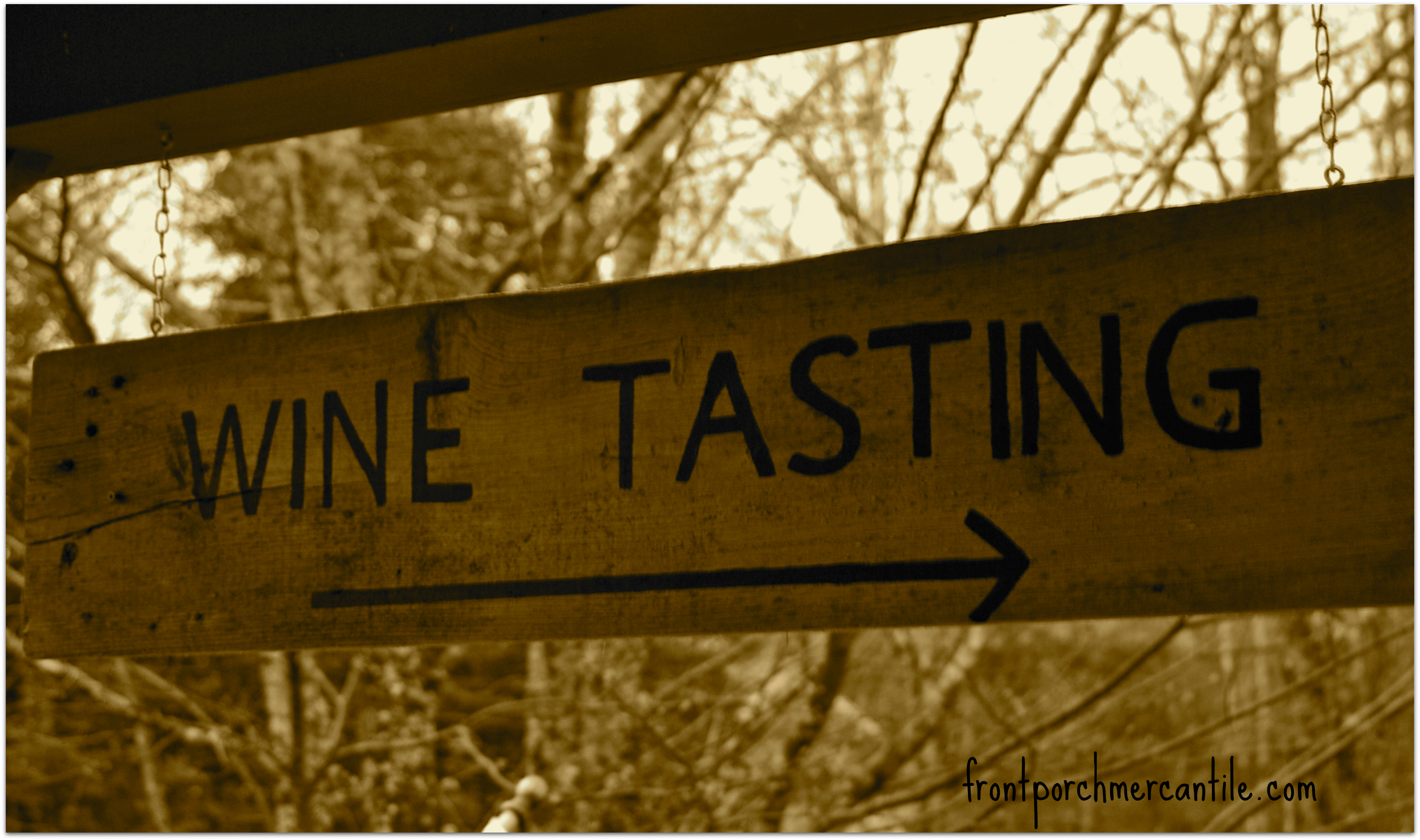 wood painted wine tasting sign