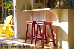 Red Painted Stools