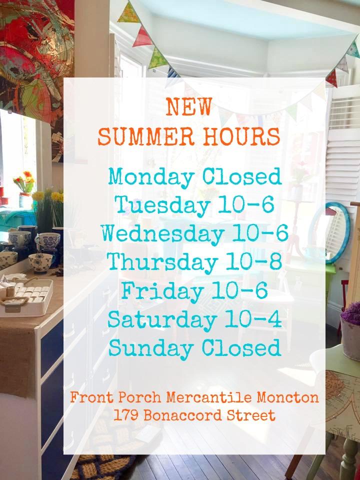 Front Porch Mercantile Hours
