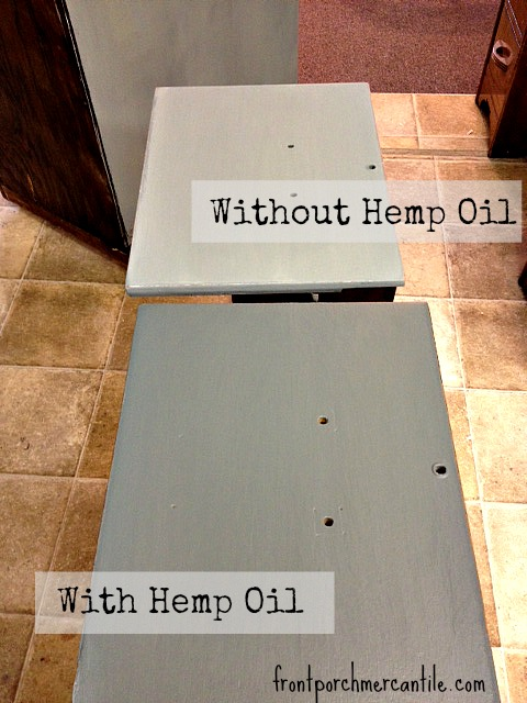 Hemp Oil on oak file cabinet drawers - Front Porch Mercantile