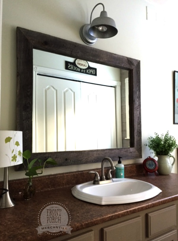 Barn Board Mirror and Barn Light Front Porch Mercantile