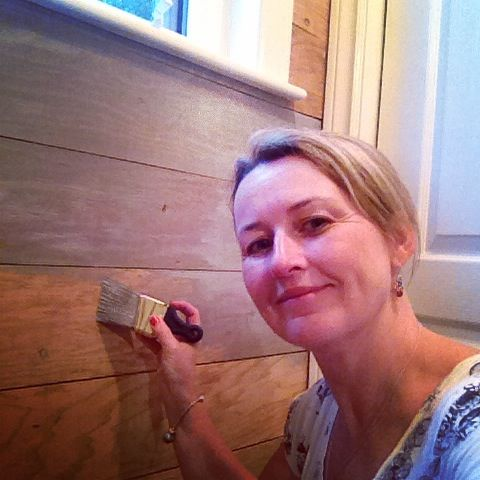 using MMS Trophy to stain the plank wall - SO EASY Front Porch Mercantile