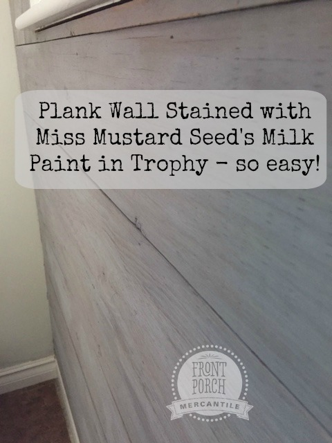 plank wall and stain with MMS Trophy Front Porch Mercantile