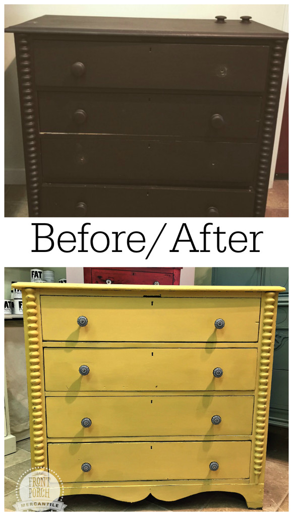 Mustard Seed dresser before/after Front Porch Mercantile