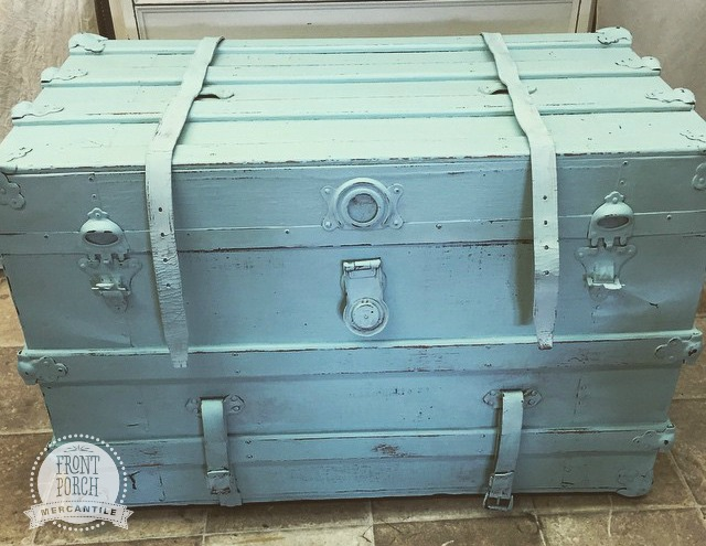 Beautiful reimagined trunk - fresher and cleaner in Fat Paint custom colour of Robyn's Egg and Pistachio - at Front Porch Mercantile