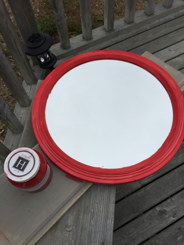 Fort York Red Fusion painted mirror