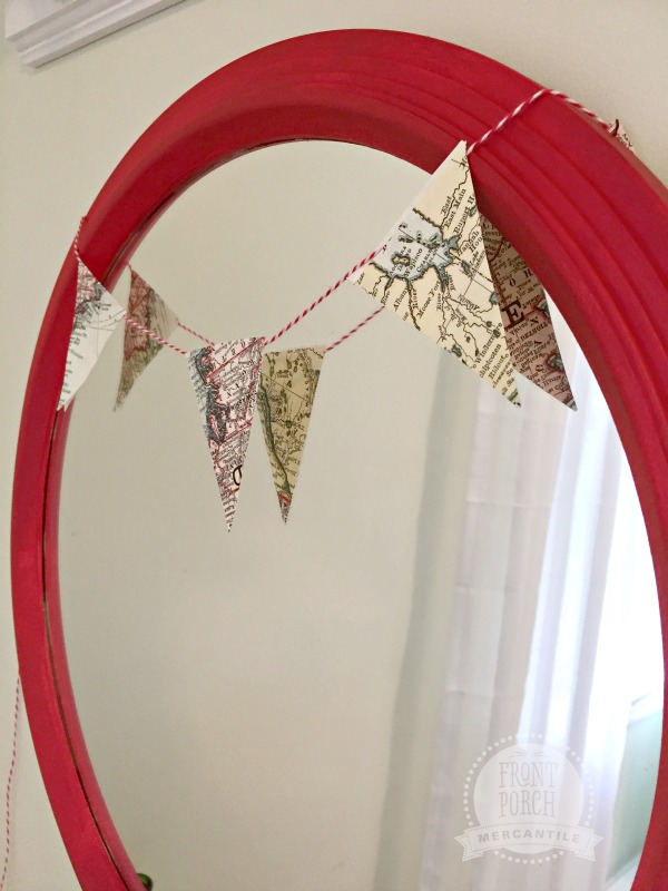 Red Mirror with Bunting Front Porch Mercantile