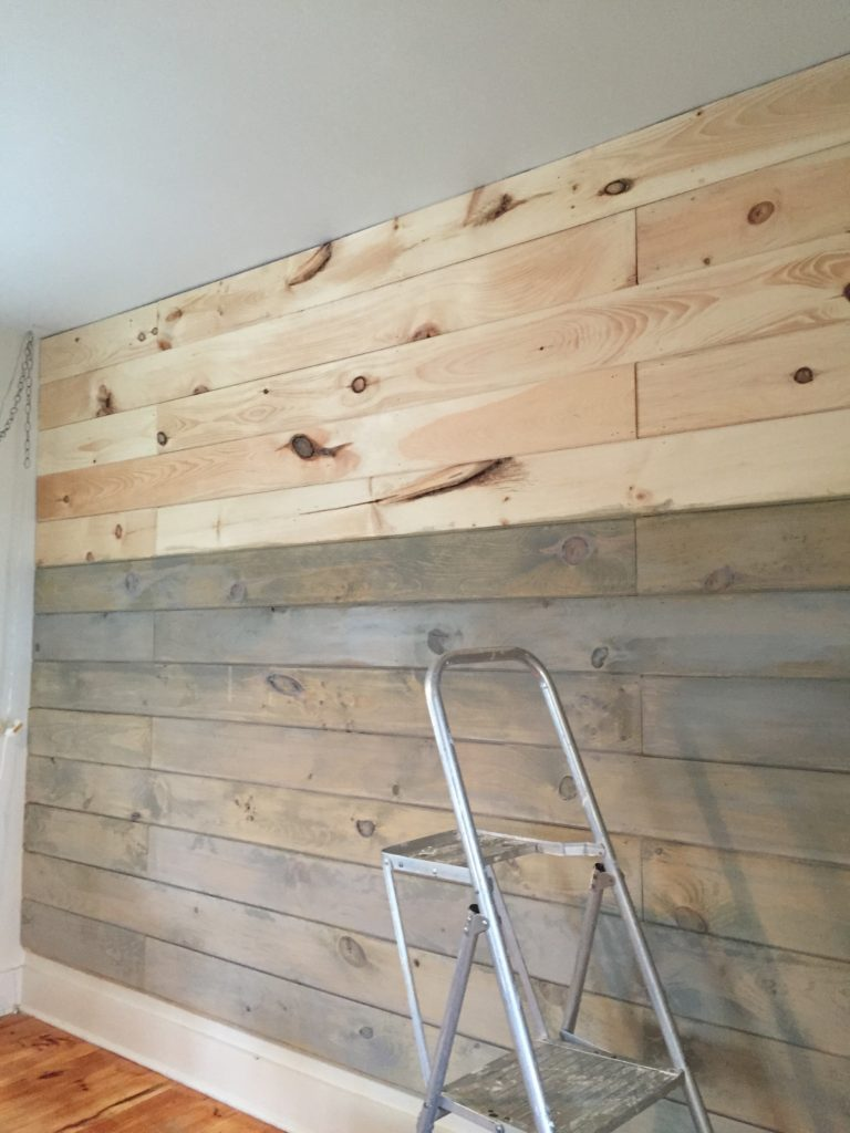 idea for stairs going up to attic - How to Plank and Paint a Wall on a Bud Front Porch