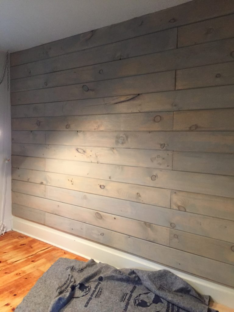 how to plank and paint a wall on a budget front porch mercantile. Black Bedroom Furniture Sets. Home Design Ideas