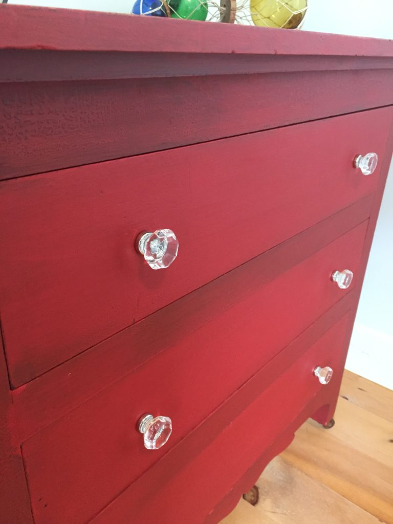 Milk Painted Red Tricycle Dresser at Front Porch Mercantile
