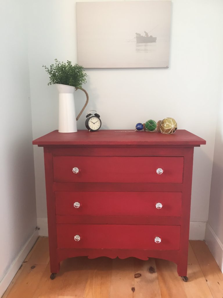 Red MMS Tricycle Painted dresser Front Porch Mercantile