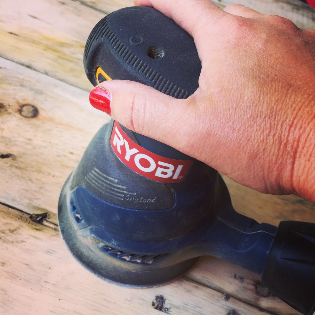 Sanding the electrical spool with my Ryobi