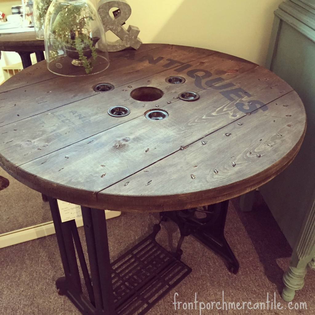 Upcycled Singer Spool and Electrical Spool Table at Front Porch Mercantile