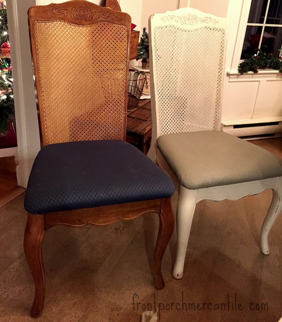 Before and After FAT Painted dining room chairs at Front Porch Mercantile