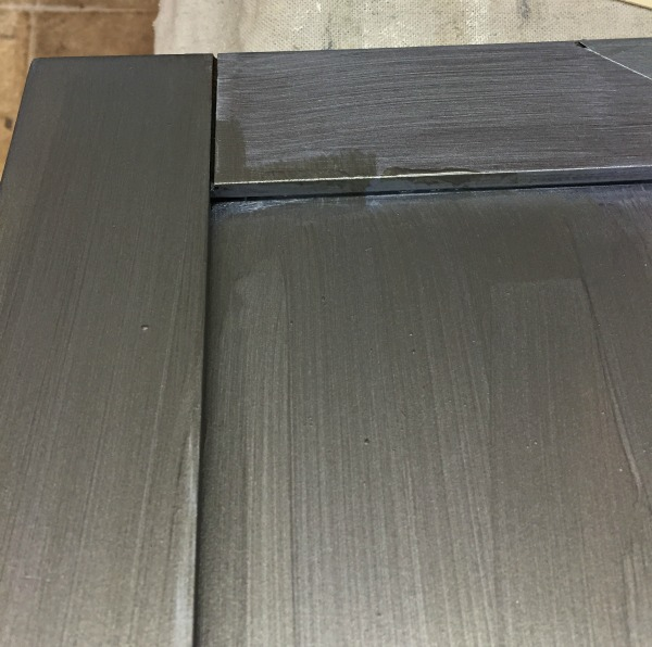 Metallic kitchen cabinet how to front porch mercantile for Brushed aluminum kitchen cabinets