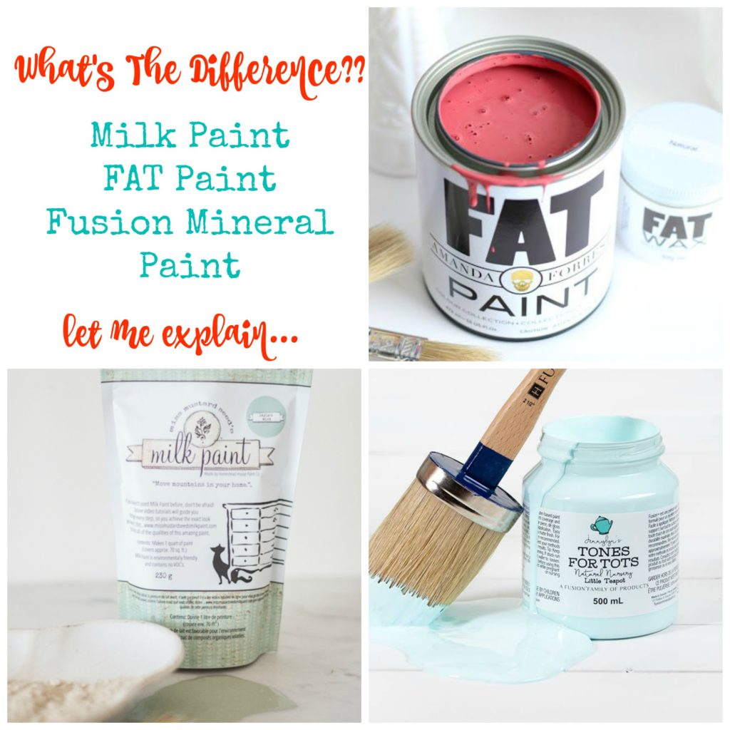 What's the difference in milk paint, acrylic paint and FAT Paint chalk style paint...let me explain