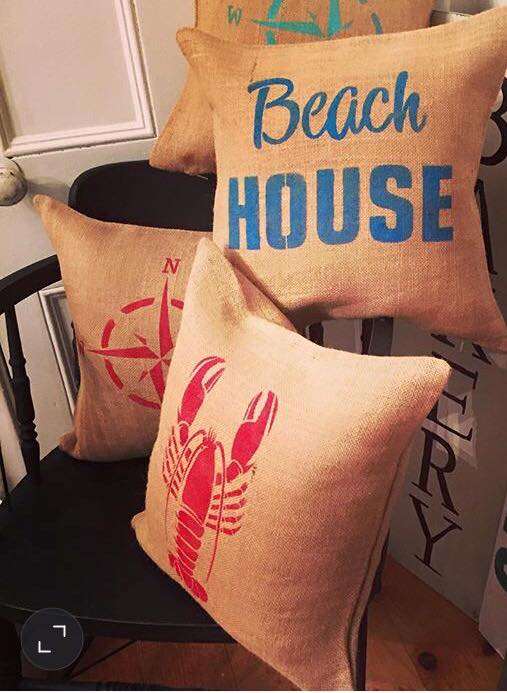 stencilling pillows with FAT Paint at Front Porch Mercantile