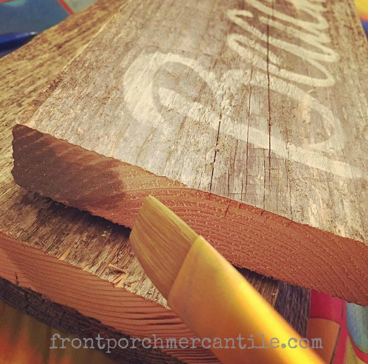 Paint Tip - Easy fix for raw edges on reclaimed wood - use Miss Mustard Seed's Milk Paint