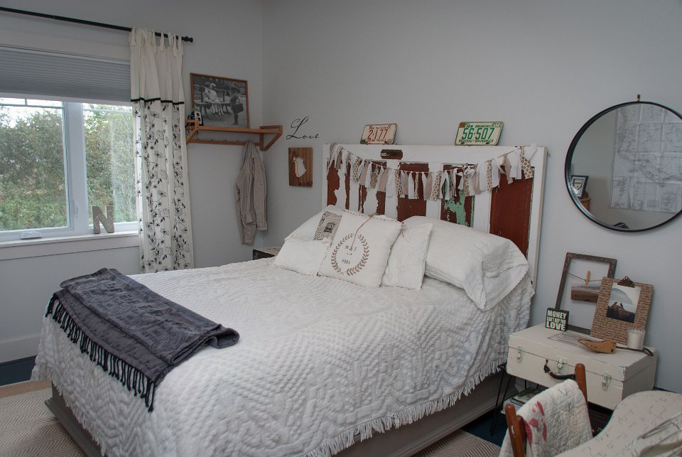 Stunning master bedroom using re loved and re styled decor, paint changes everything