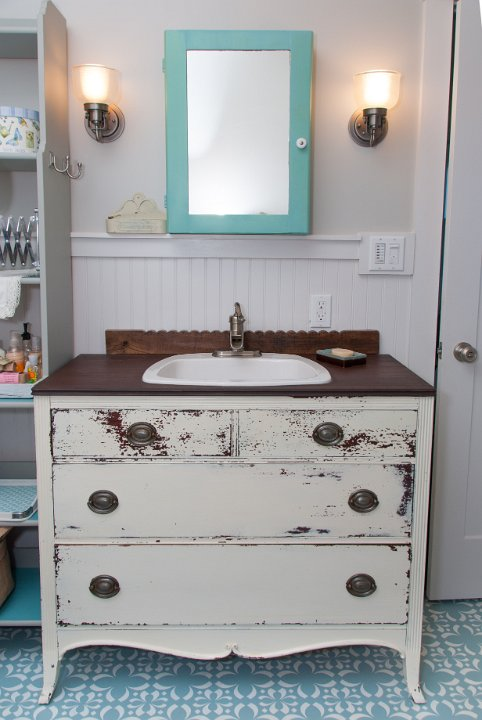 This gorgeous piece was painted with Miss Mustard Seed's Milk Paint and turned into a gorgeous vanity