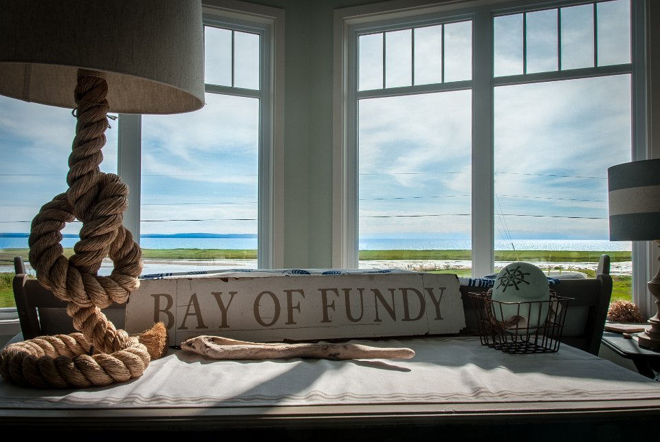 Hand painted signs highlight this beautiful cottage on the Bay of Fundy