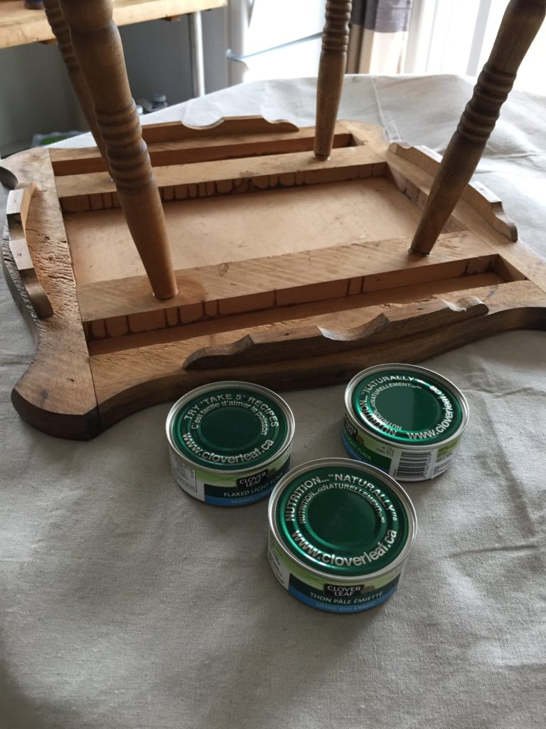 Prop up your furniture when you start painting, I use tuna cans or whatever I have on hand