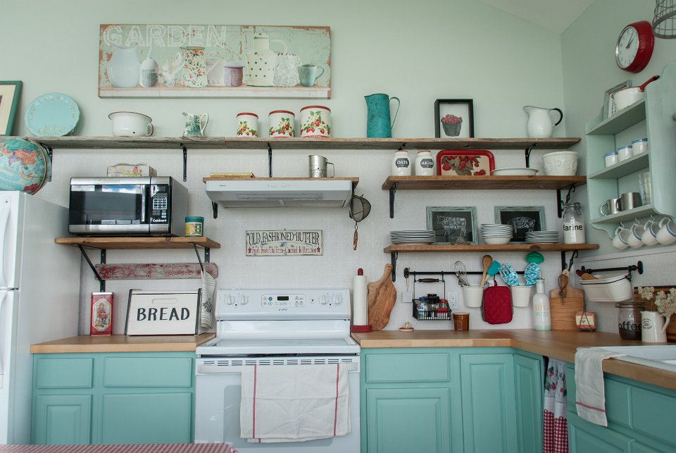 I'm in love with the use of colour and style in my customers kitchen see full blog post at Front Porch Mercantile