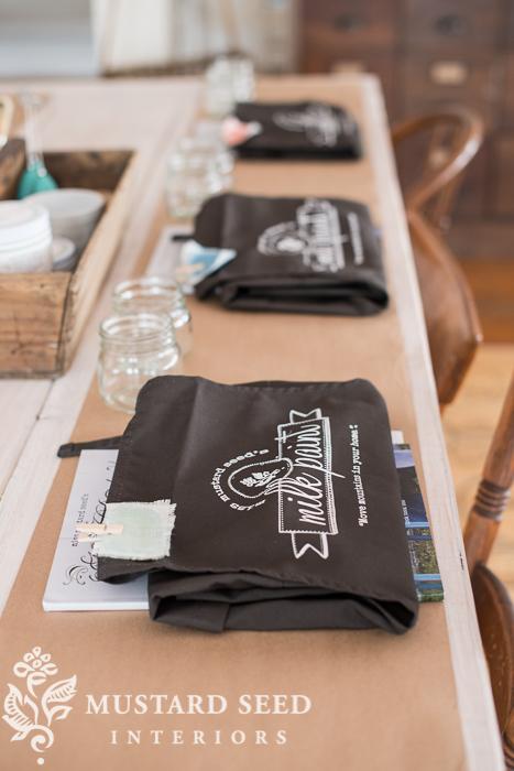 Workshop all set up at Miss mustard Seed's Studio