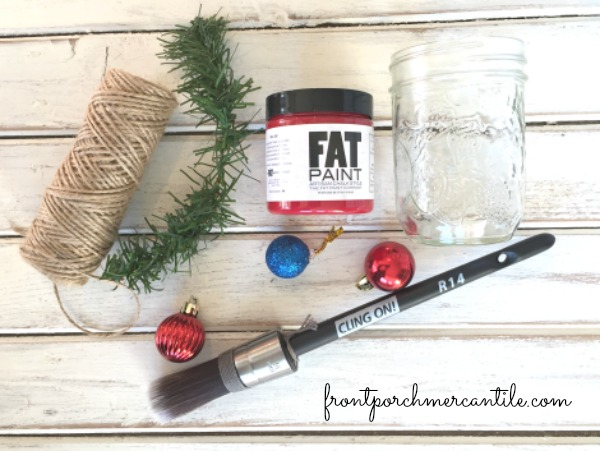 paint up a mason jar for the holidays with Front Porch Mercantile