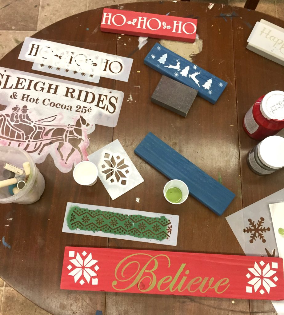 Stencil Fun for easy Christmas DIY our day 5 of 12 Easy DIY