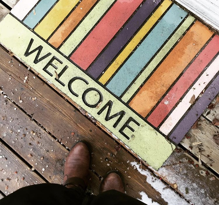 Paint up a welcome mat with FAT Paint chalk style paint