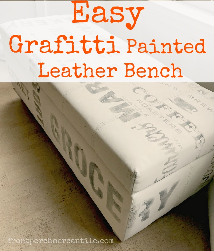 Love this easy graffiti inspired painted LEATHER bench from Front Porch Mercantile