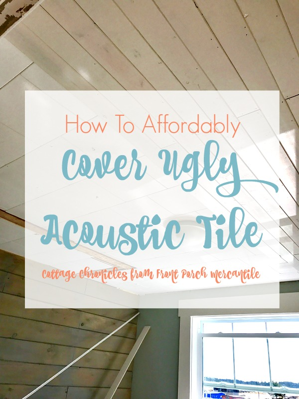 covering acoustic tile affordably in our cottage office