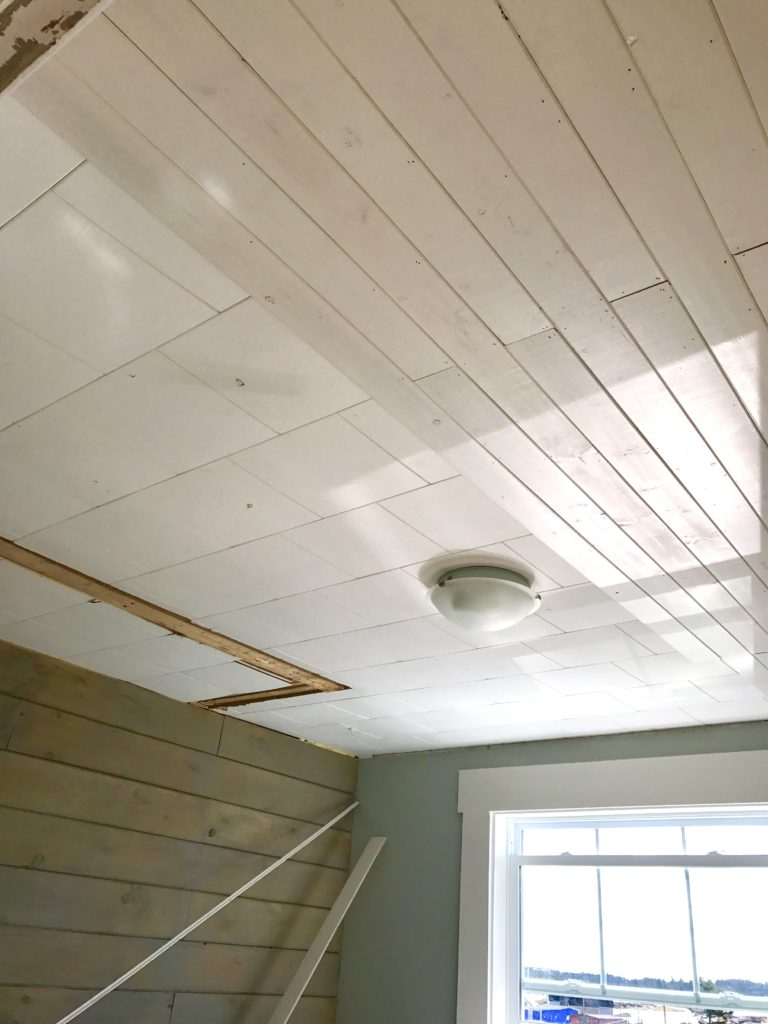 How To Affordably Cover Acoustic Tile Ceiling Front Porch