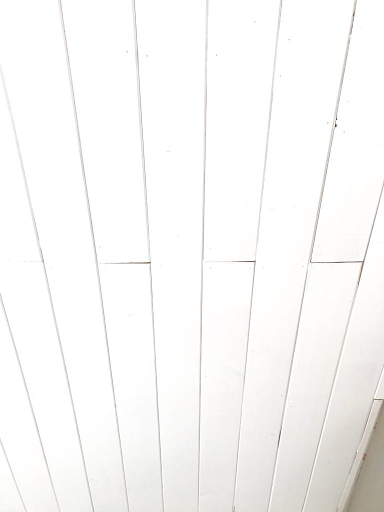 Planked Ceiling over acoustic tile at the cottage by the sea Front Porch Mercantile