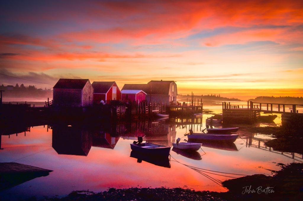 Fish Shacks at Dawn - Blue Rocks Nova Scotia, by John Batten